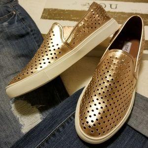 Rose Gold slip-on sneakers..Steve Madden